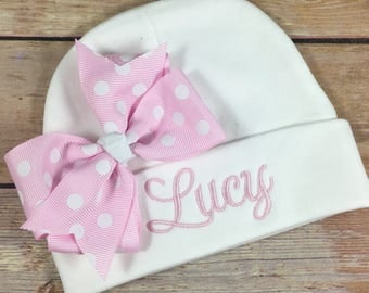 Personalized Baby Hat PINK POLKA DOT Baby Beanie Hat Monogram Baby Hat Baby Shower Gift Personalized Infant Hat Newborn Baby Newborn Hat