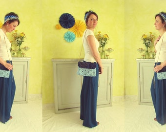 """Bag """"Flower dots"""" cotton sky blue and Navy"""
