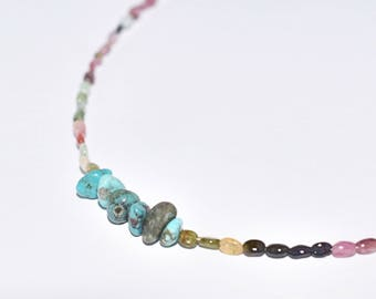 African EULALIA necklace Turquoise and tourmaline