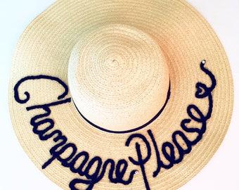 Personalised 'Champagne Please' Floppy Sun Hat