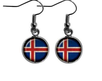 Iceland Icelandic Flag Earrings