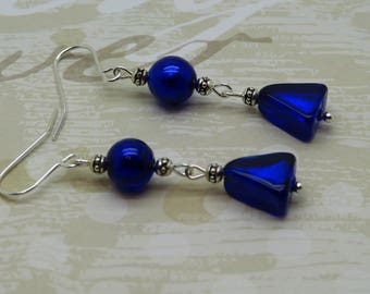 Blue earrings cobalt Murano glass silver leaves