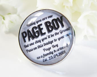 Page Boy Badge Gift Momento Family Heirloom Quote Lapel Badge Something Old Wedding Favour