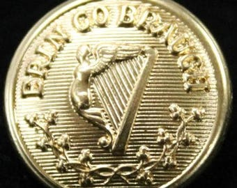 Erin Go Bragh! Irish Metal Shank Button Harp Shamrocks Ireland Forever