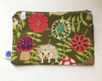 Hedgehog In My Garden Zipper Pouch with Green Zipper and Hedgehog In My Garden Liner