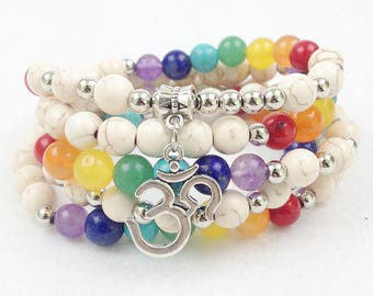 Seven Chakras Rainbow Mala White Turquoise Silver Plated Om Charm 108 Beads Elastic 38 Inches