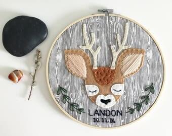 Made-to-order Woodland Nursery Buck Deer Embroidery Hoop