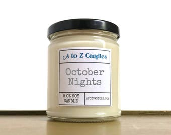 Fall|Candle, Fall|Decor, Fall Gift, Autumn|Decor, Sage Candle, Woods Candle, October Nights Candle, Autumn Candle, Soy Candle