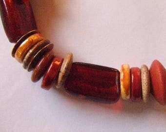 Semi-precious ethnic necklace, ceramic red and yellow