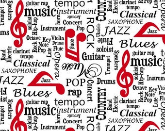 Musicality by Blank Quilting - Music Words White - Cotton Woven Fabric