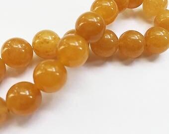 Yellow (Orange) Jade Gemstone Beads - Round - 10mm