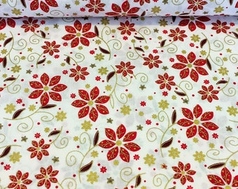 Ivory Christmas Floral Cotton Fabric, Christmas Fabric, Xmas Fabric, Christmas Cotton Fabric,Christmas Craft Fabric