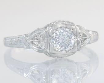 Antique EGL Certified .58ct Diamond 18K White Gold Art Deco Engagement Ring