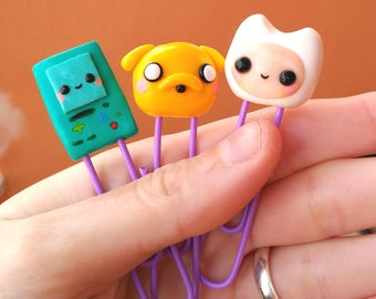 Paper Clips Jake Beemo and Finn  Adventure Time  hugged Lovely Friends kawaii Stationery