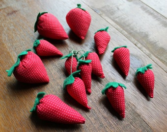 Vintage Lot of 13 Strawberry Pin Cushions Soft Filled Fabric
