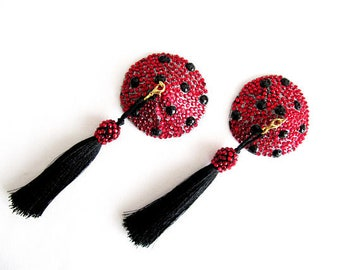 Ladybug Nipple Pasties,Red Rhinestone Pasties With Black Chainette Tassels,Nipple  Jewelry,Body Jewelry,Party Girl Gift,Valentines Day Gift
