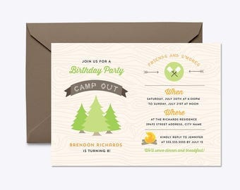CAMPING BIRTHDAY Invitation, Camping Party, Camping Birthday, Camping Party Invitation, Camping Birthday Party, Camping Invite