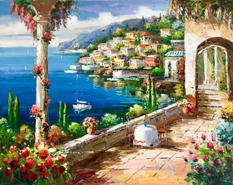 """36"""" x 48"""" Mediterranean View. Paintings of the ocean. Italian Villa. Impressionistic painting. Hand painted. Oil on canvas."""
