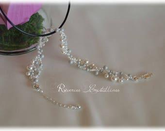 Wedding bracelet bridal bracelet, white and grey, pearly jewelry grey, white and grey, Swarovski crystals, seed beads
