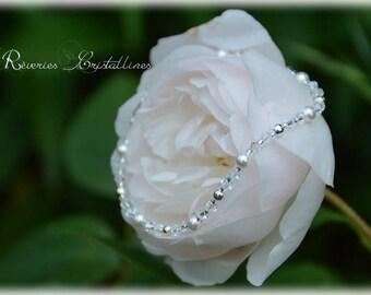 Bracelet mariage argent, perles nacrées, cristaux de Swarovski, rocailles - bridal jewelry, wedding bracelet, silver crystal jewelry