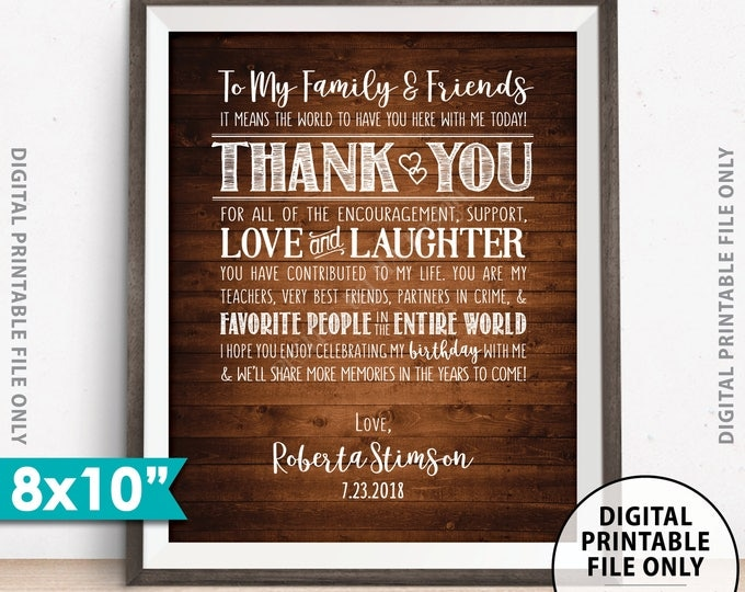 """Birthday Thank You Sign, Thanks for Coming to the Birthday Party Decoration Thank You Display, Rustic Wood Style PRINTABLE 8x10"""" Sign"""