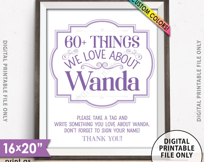 """Birthday Sign, Share Things You Love about the Birthday Boy or Girl Sign, Birthday Love Sign, PRINTABLE 8x10/16x20"""" Birthday Decor Sign"""