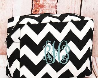 Black Chevron Cosmetic Case/ Makeup Bag/ Travel Bag/ Gift for Teen/ Teen Girl Gifts/ Teen Gift