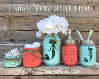 Mermaid Bathroom Decor, Mermaid Decor, Mermaid Painted Mason Jars, Mason  Jar Bathroom Set