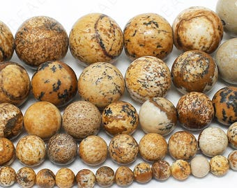 "Picture Jasper Beads Natural Gemstone Round Loose - 4mm 6mm 8mm 10mm 12mm - 15.5"" Strand"