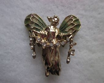 Costume Jewelry Angel with wings and Rhinestones
