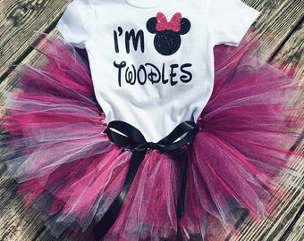 I'm TWODLES Birthday Outfit, Minnie Mouse Tutu Set, Minnie Mouse Birthday Outfit, I'm Twodles Birthday Shirt, 2nd Birthday Outfit