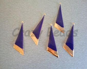 10 beautiful blue and gold enamel pendants
