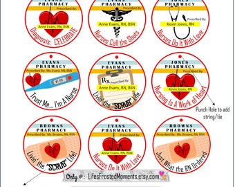 PDF Nurse Grad Inspired Custom Personalized Round Favor Tag/Cupcake Labels You DOWNLOAD and PRINT