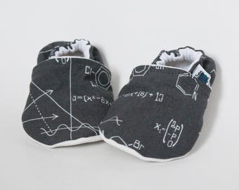 12-18 months - Slippers, Maths, Science, Grey, Geek, Equations, Flannel, Cotton, Soft soles, Moccasins, Toddler, Shower gift idea, Unisex