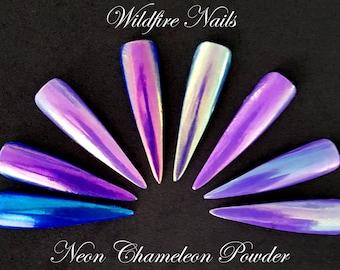 Unicorn Mermaid Metallic Duo-Chrome NEON Chameleon Powder Colour-Changing Nail Art Salon Chrome Powder