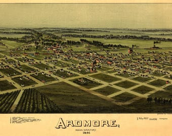 Ardmore OK Panoramic map dated 1891. This print is a wonderful wall decoration for Den, Office, Man Cave or any wall.