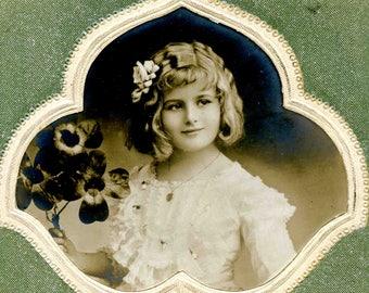Young Girl | Silka Patent Postcard | Studio Portrait | Edwardian Postcard | New Year Card | Circulated | Real Photograph | 1911