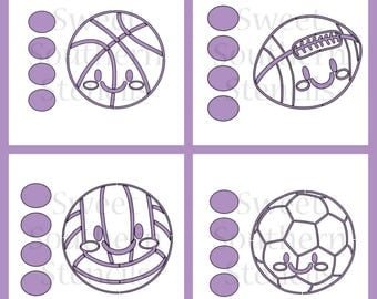 Cute Sports Ball PYO Cookie Stencils (4 separate stencils)