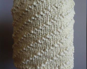 Knit winter hat skull cap beanie chemo cap acrylic Red Heart Strata yarn cream aran color