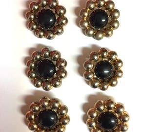 Vintage Gold & Black Plastic Buttons Set of Six Round Vintage Buttons