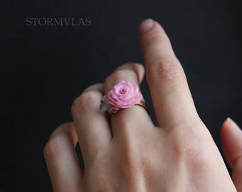 rose quartz ring Copper adjustable Flower jewelry realistic rose ring love ring