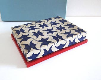French Vintage Chocolate Box MAISON BOISSIER Paris - Retro 50s Blue, White and Red Candy Box - Collector's Box - Parisian Confectionery