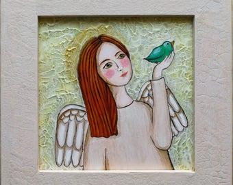 Angel -  acrilic,  15cmX15cm, 22,5X22,5 with frame