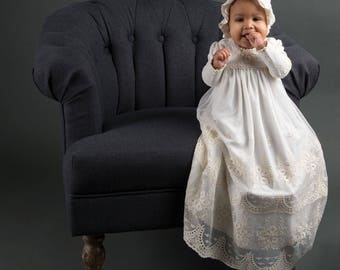 Clementine Christening Gown, Girls Baptism Gown, Lace Baptism Gowns, Long Sleeve Christening Gown