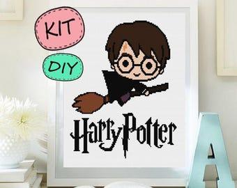 Harry Potter cross stitch KIT. DIY cross stitch KIT. Moder cross stitch Harry Potter Kit Diy