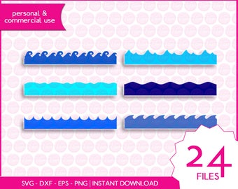 SEA WAVES | svg - dxf - eps - png | digital cutting files for cutting machines | waves clipart | vector files