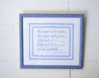 """Tapestry framed, numbered, tapestry, crosstitch, """"sea"""" Paul Fort"""