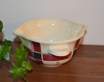 Gravy boat in earthenware of Sarreguemines, french vintage 50's