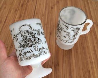 Vintage milk glass pedestal mugs lover's cup federal Irish coffee cups valentines angels cupid