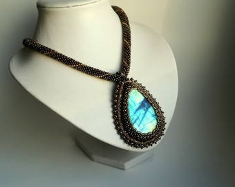Labrodorite Embroidered Pendant , Vintage Style , Seed Beads Necklace,  stone pendant, Brown, gold  pendant.